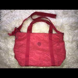 Kipling Red Nylon Duffle Overnight Bag